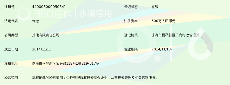 珠海横琴黑石盈信股权基金管理有限公司_360